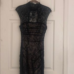 bebe Dresses - Bebe Black and Nude Lace Cocktail Dress XS